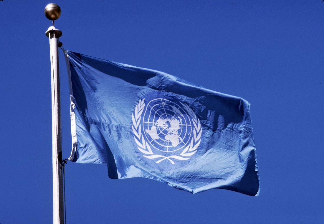 United Nations flag flies from a pole in front of UN Headquarters in New York